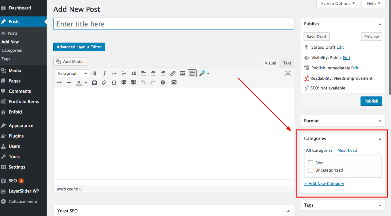 Adding categories to a post